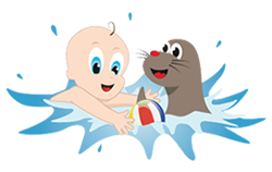 Baby Swimming Lessons - cartoons of baby playing with seal in the water