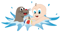 Toddler Swimming Lessons - cartoons of baby with a seal